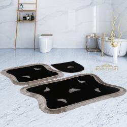 Bonny Home Kelebek Dantelli Bordo 3'lü Banyo Paspası Seti Kaymaz Tabanlı Çeyizlik Klozet Takımı
