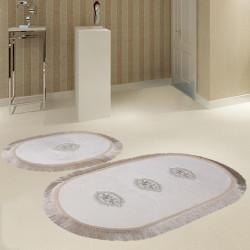 Bonny Home Polaris Krem 2'li Banyo Paspası Seti Kaymaz Tabanlı Çeyizlik Dantelli Klozet Takımı