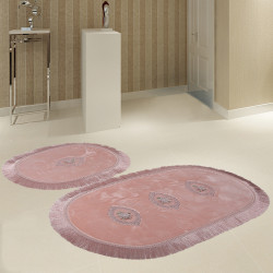 Bonny Home Polaris Pudra 2'li Banyo Paspası Seti Kaymaz Tabanlı Çeyizlik Dantelli Klozet Takımı