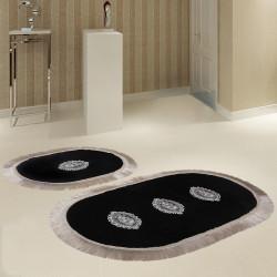 Bonny Home Polaris Siyah 2'li Banyo Paspası Seti Kaymaz Tabanlı Çeyizlik Dantelli Klozet Takımı