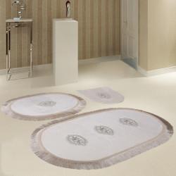Bonny Home Polaris Krem 3'lü Banyo Paspası Seti Kaymaz Tabanlı Çeyizlik Dantelli Klozet Takımı