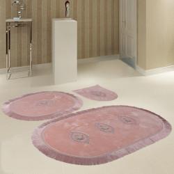 Bonny Home Polaris Pudra 3'lü Banyo Paspası Seti Kaymaz Tabanlı Çeyizlik Dantelli Klozet Takımı