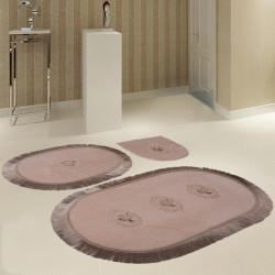 Bonny Home Polaris Vizon 3'lü Banyo Paspası Seti Kaymaz Tabanlı Çeyizlik Dantelli Klozet Takımı
