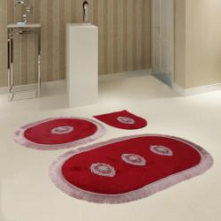 Bonny Home Polaris Bordo 3'lü Banyo Paspası Seti Kaymaz Tabanlı Çeyizlik Dantelli Klozet Takımı