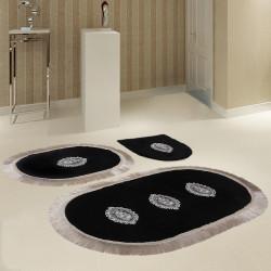 Bonny Home Polaris Siyah 3'lü Banyo Paspası Seti Kaymaz Tabanlı Çeyizlik Dantelli Klozet Takımı