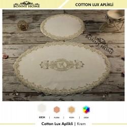 Bonny Home Krem Cotton Lux Dantelli Aplik Pamuklu Klozet Takımı 2'li