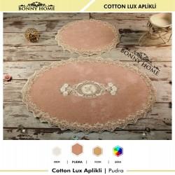 Bonny Home Pudra Cotton Lux Dantelli Aplik Pamuklu Klozet Takımı 2'li