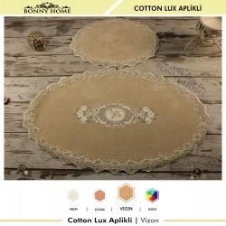 Bonny Home Vizon Cotton Lux Dantelli Aplik Pamuklu Klozet Takımı 2'li